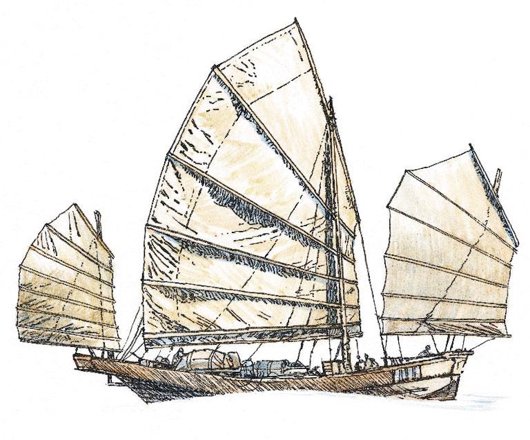 Drawn ship medieval ship Chinese ships Ships Sailing Early