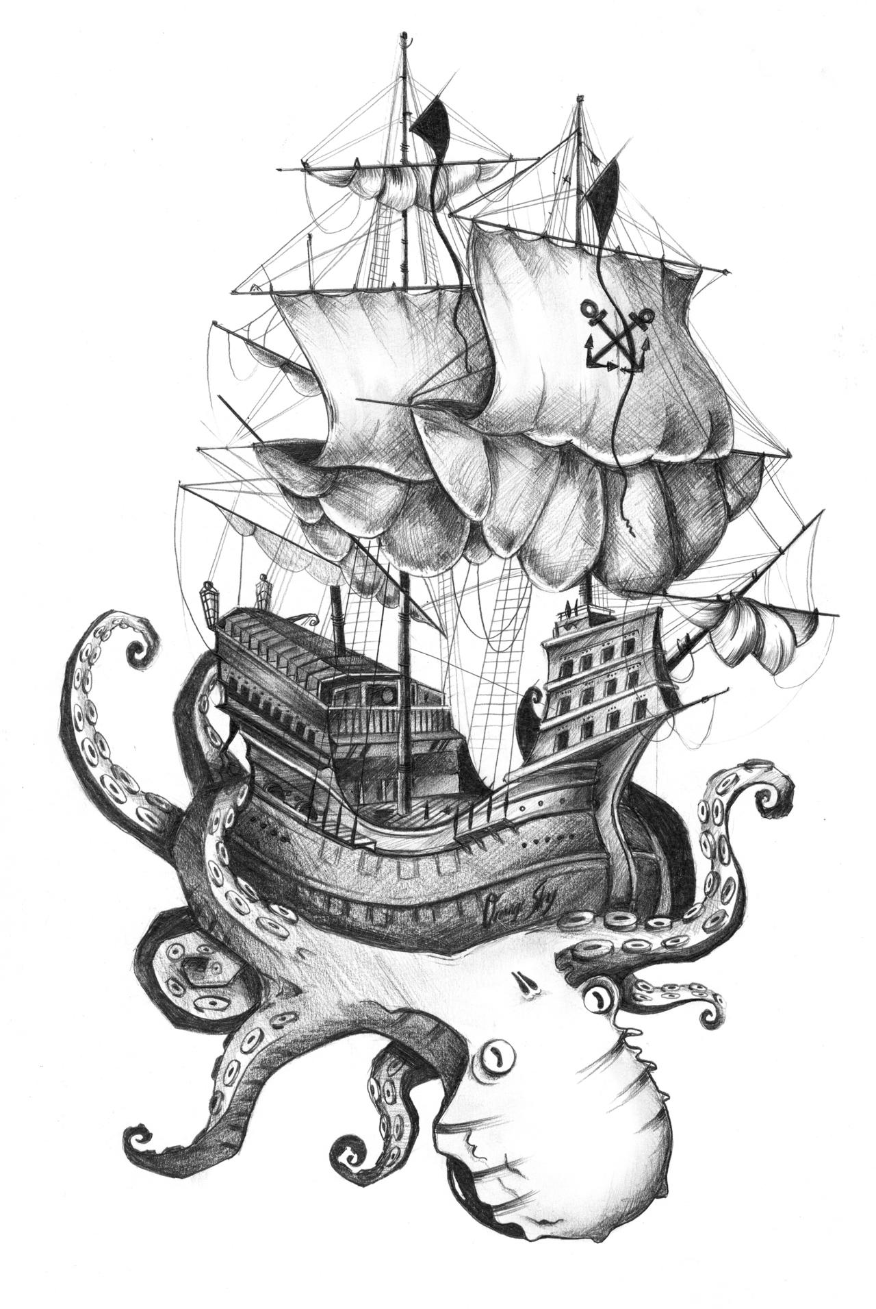 Drawn ship kraken Tumblr com/ Illustration designs http://grincourtrene