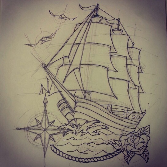 Drawn ship american traditional Pinterest Tattoo ships tatoo Google