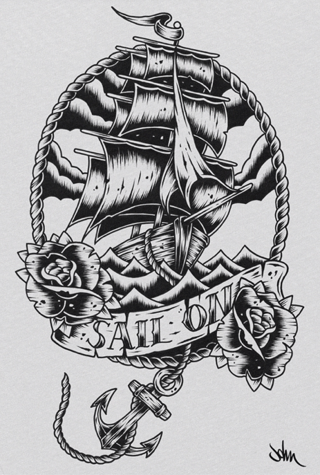 Drawn ship american traditional Frame tattoo design # #