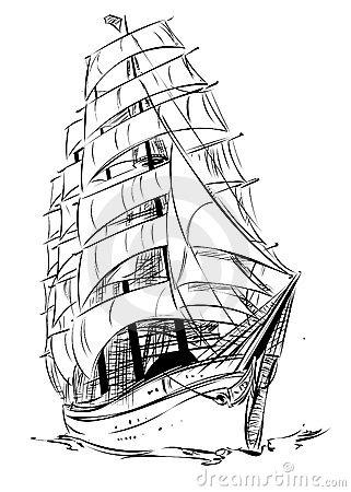 Drawn ship medieval ship Pinterest Drawings Old Sailing