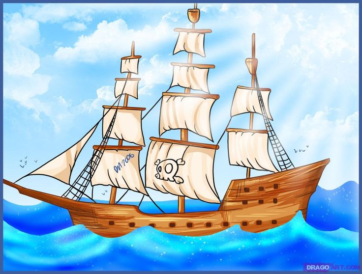 Drawn scenery boat Ship draw a drawing Pirate