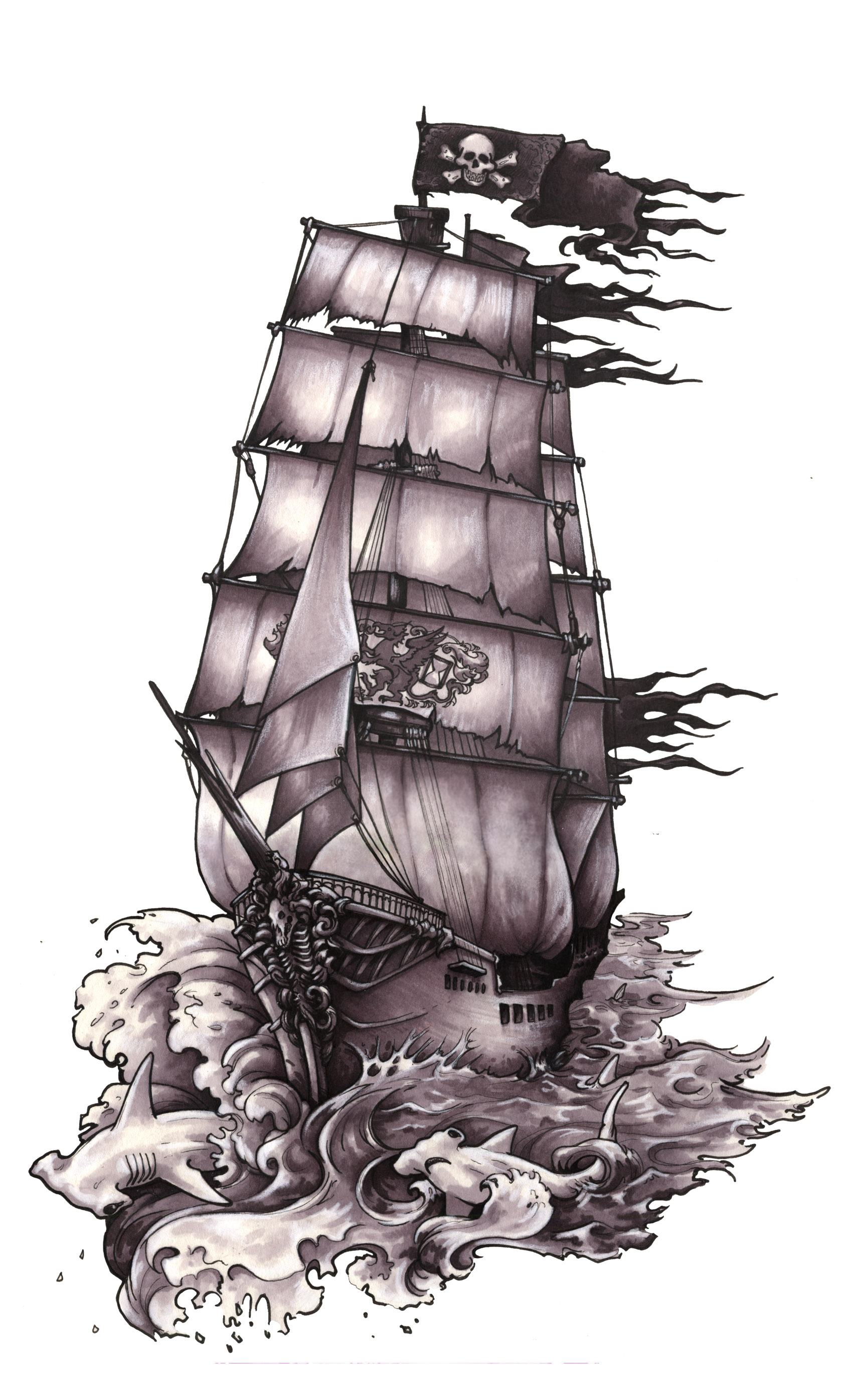 Drawn ship ghost United  Sailing Constitution Navy