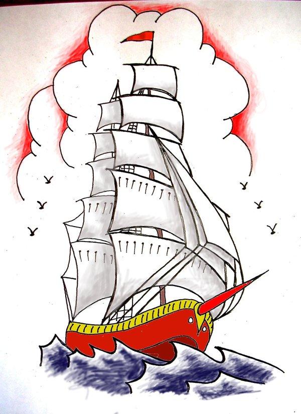 Drawn ship sailor ship Ship on DeviantArt shiptattoo Sailor