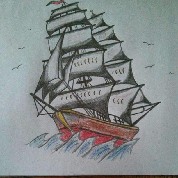 Drawn ship sailor ship #sea messing around #boat #tattoo