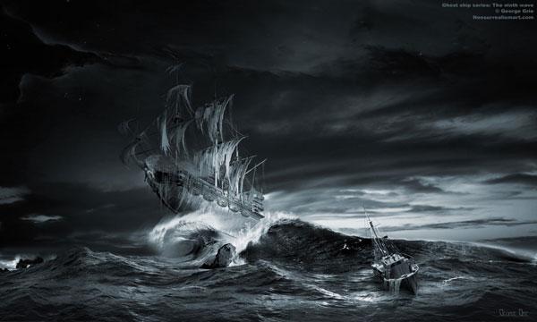 Drawn ship ghost Ship ninth ninth surreal The