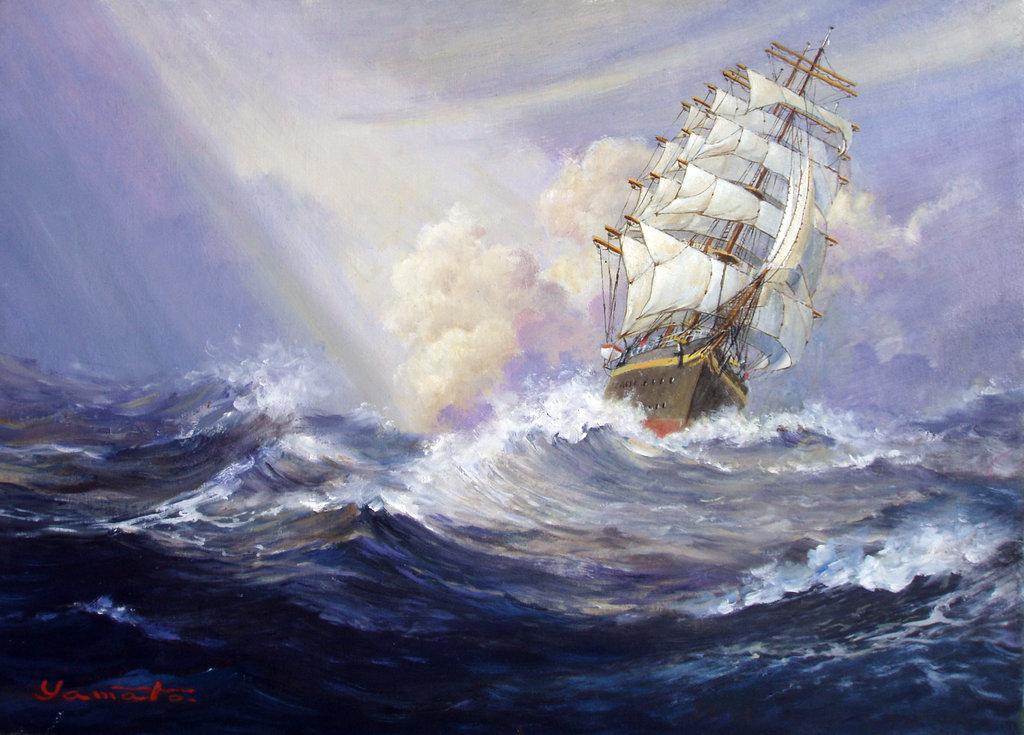 Drawn ship oil paint Ship Painting sea  Sailing