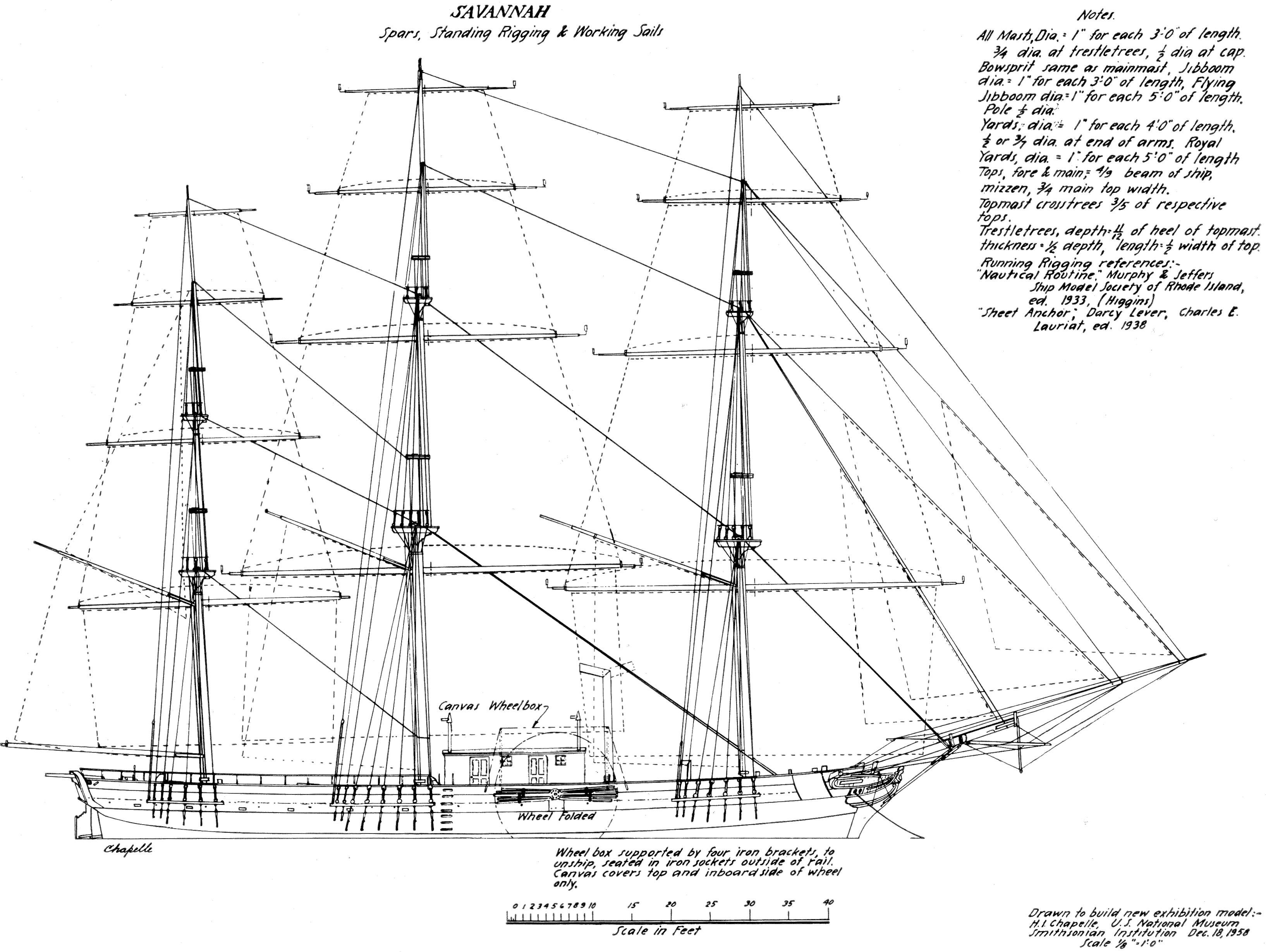 Drawn ship big ship Study Pioneer of Savannah Steamship