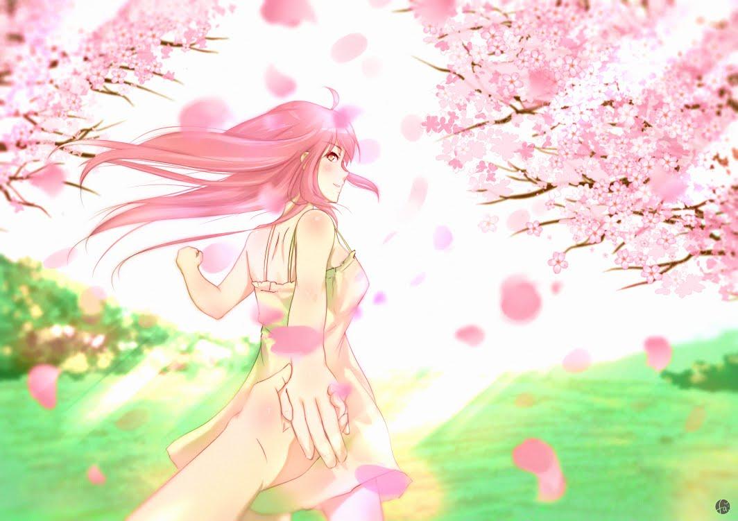 Drawn sakura blossom anime Drawing)  Novel Cherry Girl