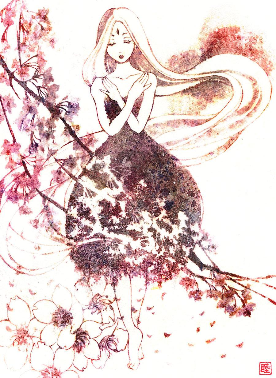 Drawn sakura blossom anime Tree DeviantArt muttiy  of