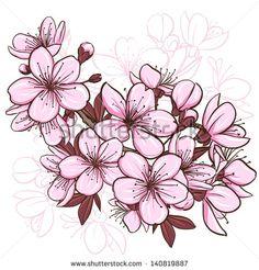 Drawn sakura blossom apple blossom Cherry Pinterest Decorative  floral