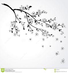Drawn sakura blossom black and white Drawing Black Cherry Tree Branch
