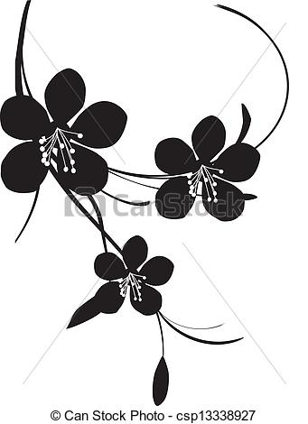 Blossom clipart black and white Cherry Illustration blossom Cherry white