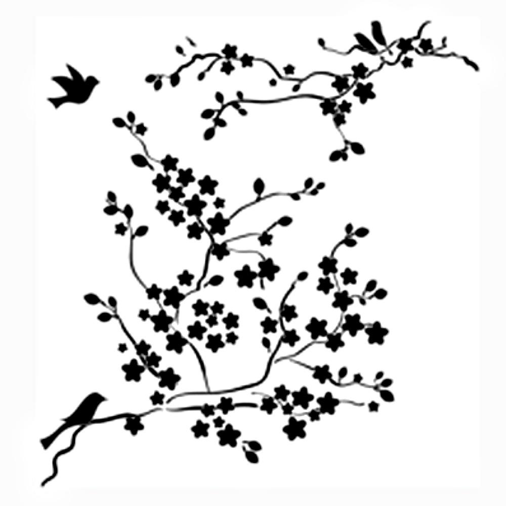 Drawn sakura blossom black and white Cherry Cherry eletragesi: Blossom Stencil