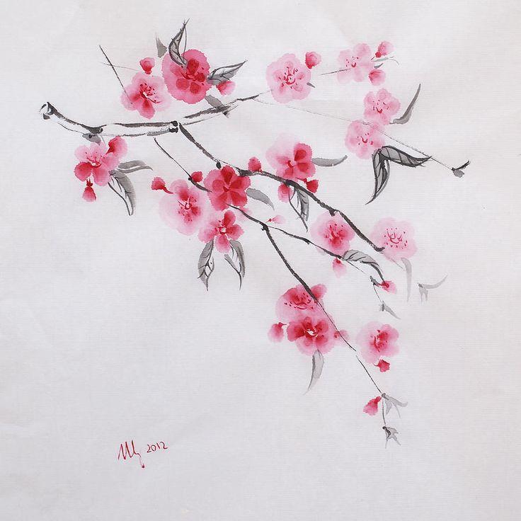 Drawn sakura blossom botanical Sakura for Posters Stangrit Art
