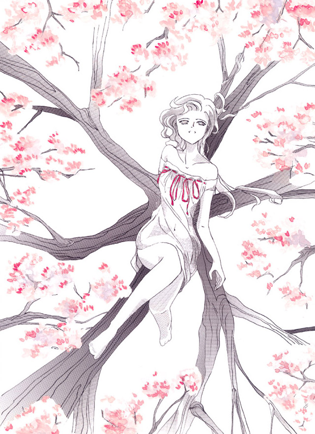 Drawn sakura blossom cartoon DeviantArt Girl Cherry san fuji