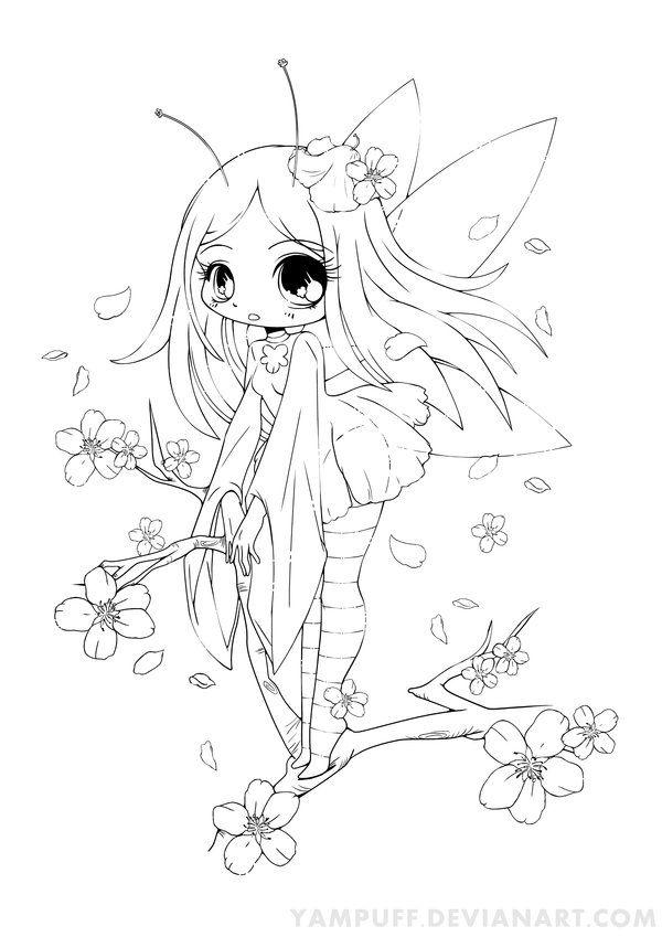 Drawn sakura blossom chibi Fairy *YamPuff best on Commish