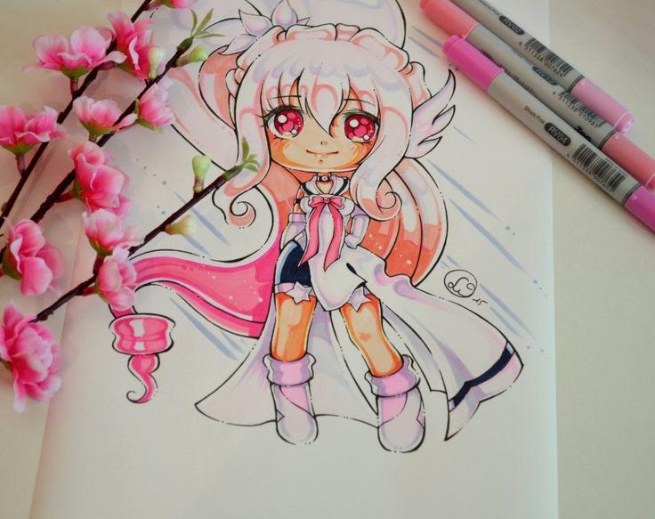 Drawn sakura blossom chibi Girl DeviantArt DrawingCherry lovely Pinterest