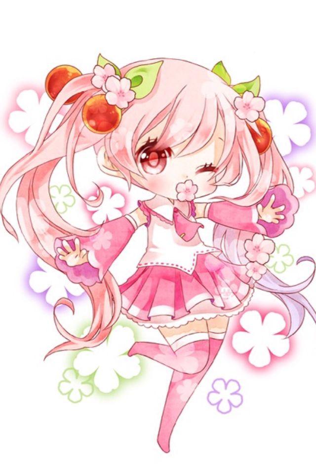 Drawn sakura blossom chibi Pin Cherry 152 on more