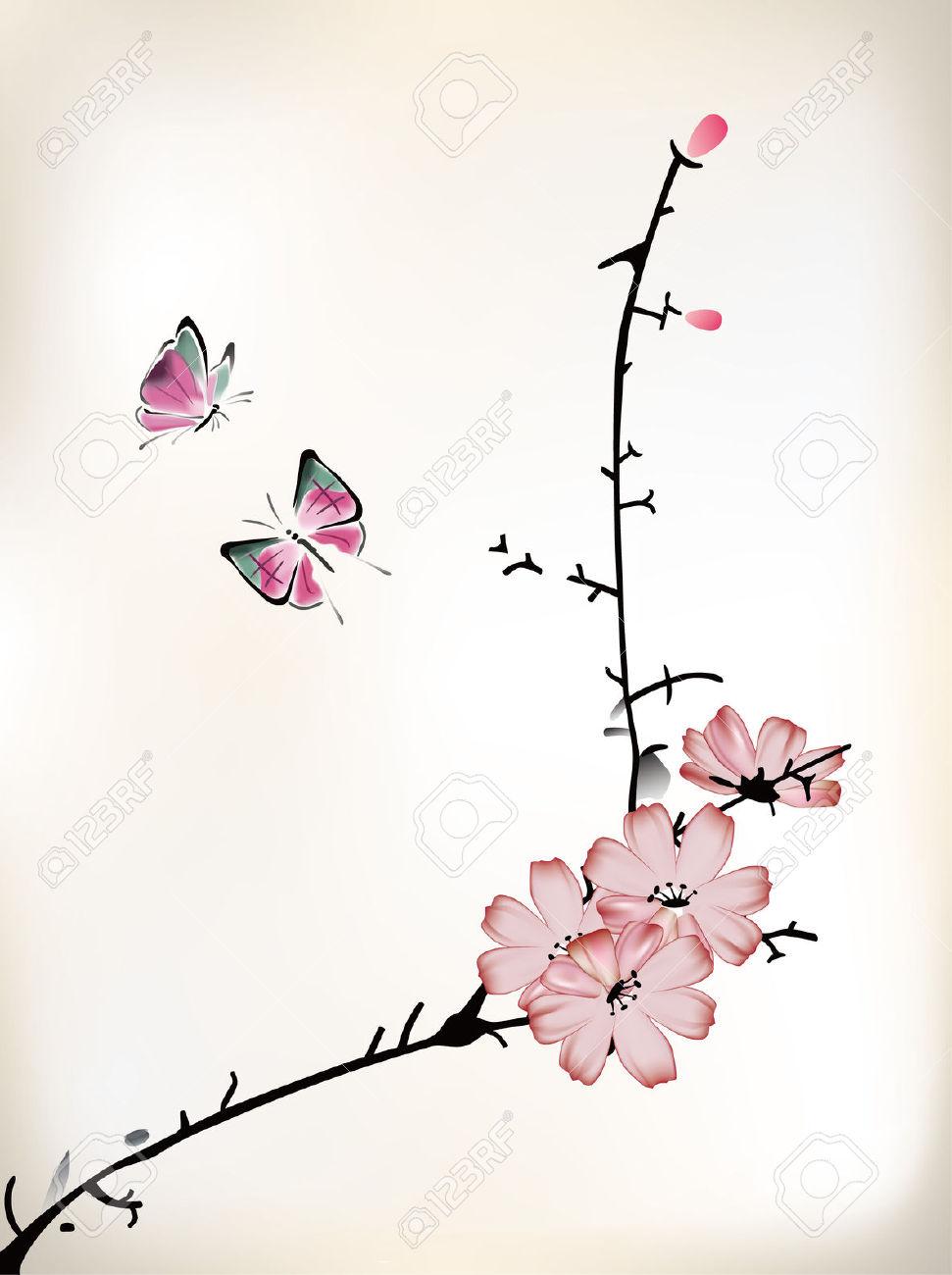 Drawn sakura blossom chinese Japanese blossom zoeken  ink