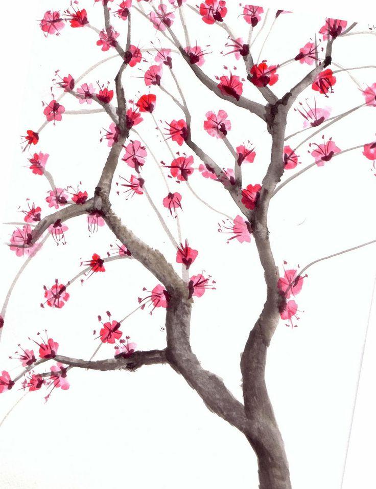 Drawn sakura blossom chinese On cherry Pinterest watercolor blossom