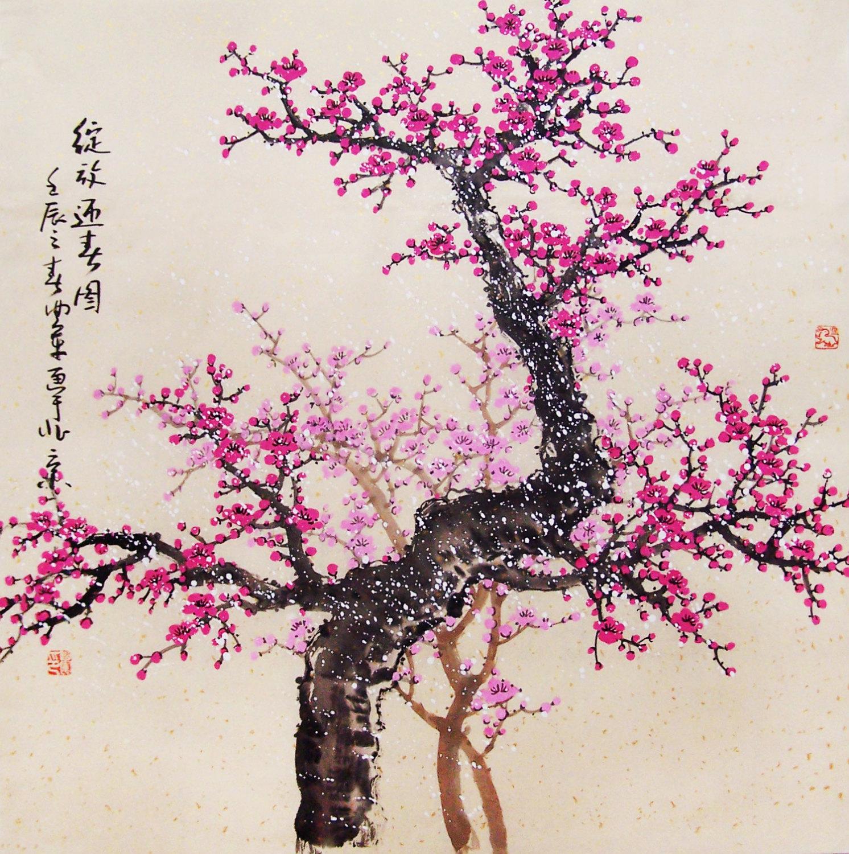 Drawn sakura blossom chinese Cherry original No painting Cherry