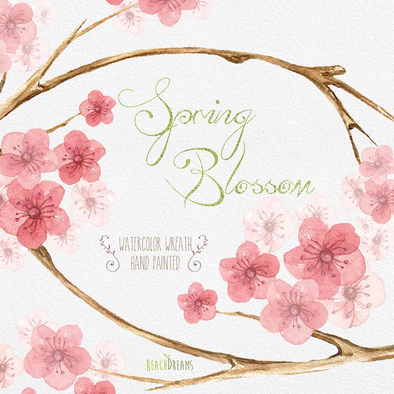 Drawn sakura blossom clip art  Digital Download Hand drawn