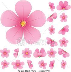 Drawn sakura blossom clip art Pinterest Blossom of sakura set