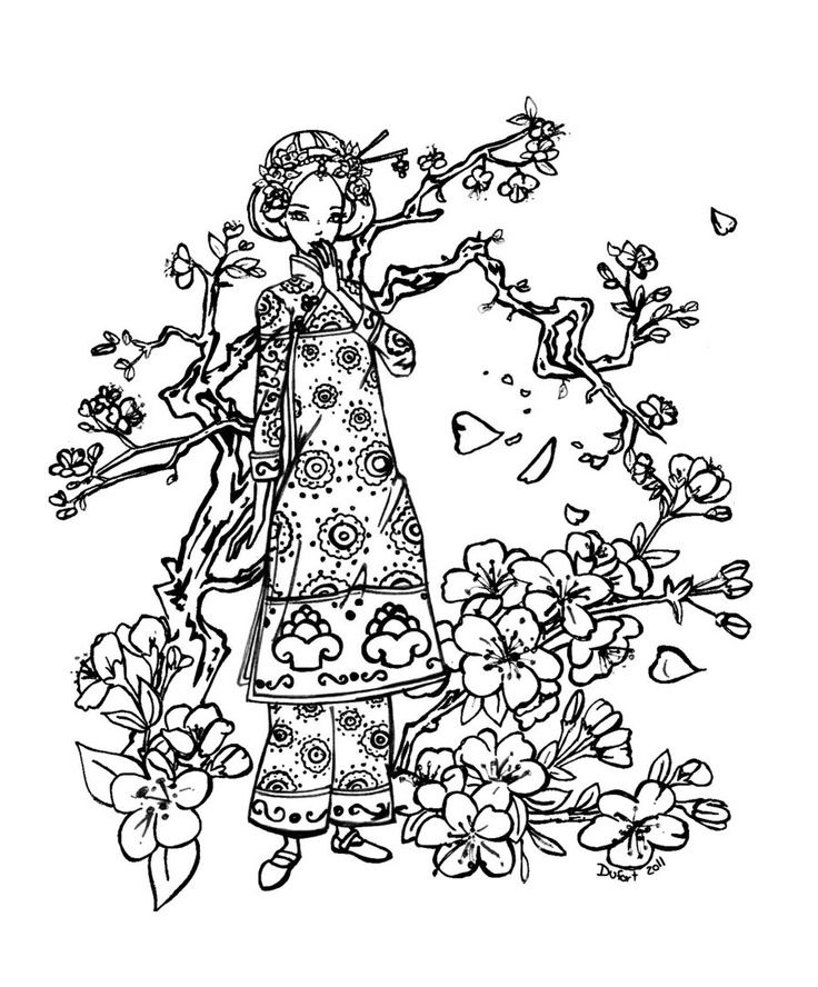 Drawn sakura blossom coloring page Coloring drawings Cherry Blossom coloring