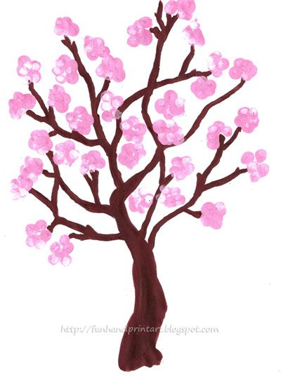 Drawn sakura blossom easy And Spring Fingerprint Tree blossoms