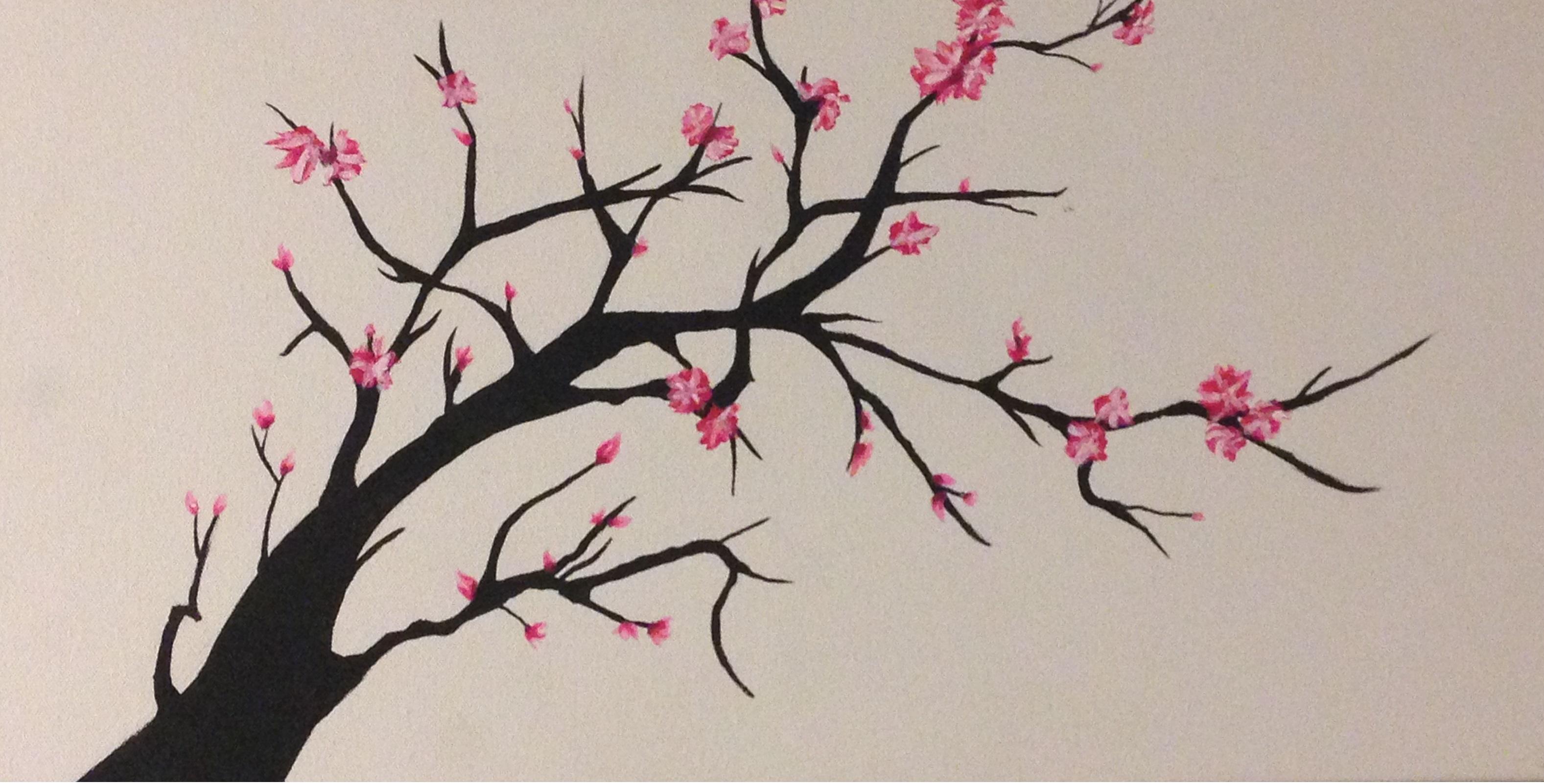 Drawn tree cherry blossom tree Drawing Blossom Tree Tree Easy