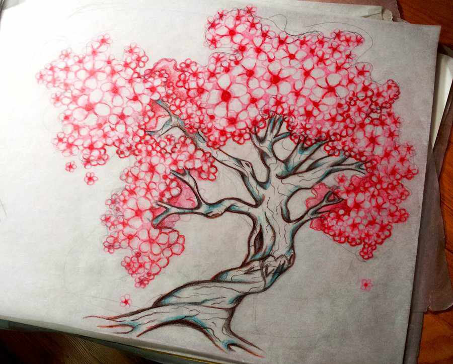 Drawn sakura blossom family tree Floral chest Floral tattoo Tattoos