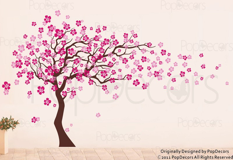 Drawn sakura blossom family tree Decal Tree Decals Tree Decal