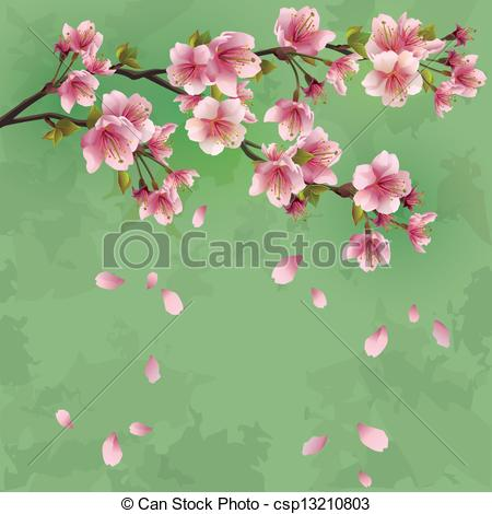 Cherry Tree clipart vector background Grunge cherry blossom Japanese with