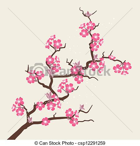 Drawn sakura blossom graphic With stylized blossom Clipart