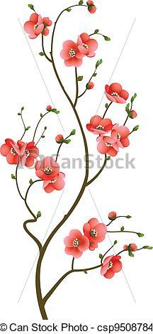 Drawn sakura blossom illustration Cherry background blossom abstract