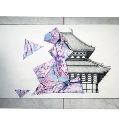 Drawn sakura blossom japanese building And Japanese with with watercolours