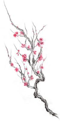Drawn sakura blossom japanese building Japanese cherry Pinterest designs red