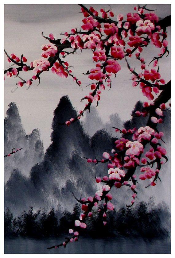 Drawn sakura blossom japanese building 25+ Cherry art 3 Cherry
