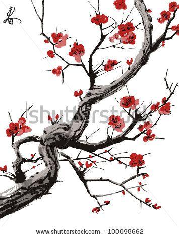 Drawn sakura blossom japanese building Stock realistic Pinterest 112 best