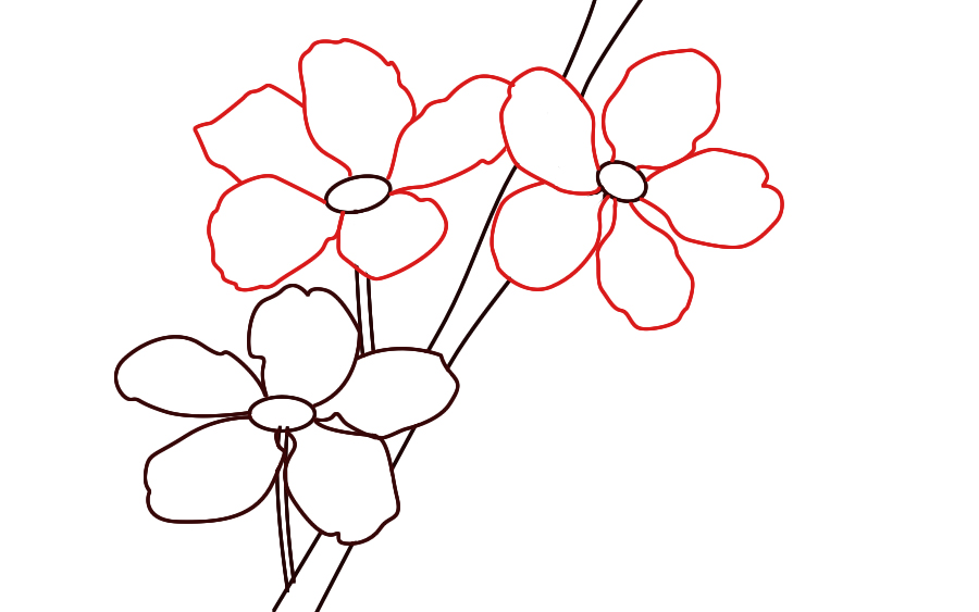 Drawn sakura blossom japanese drawing Blossoms Draw until your all