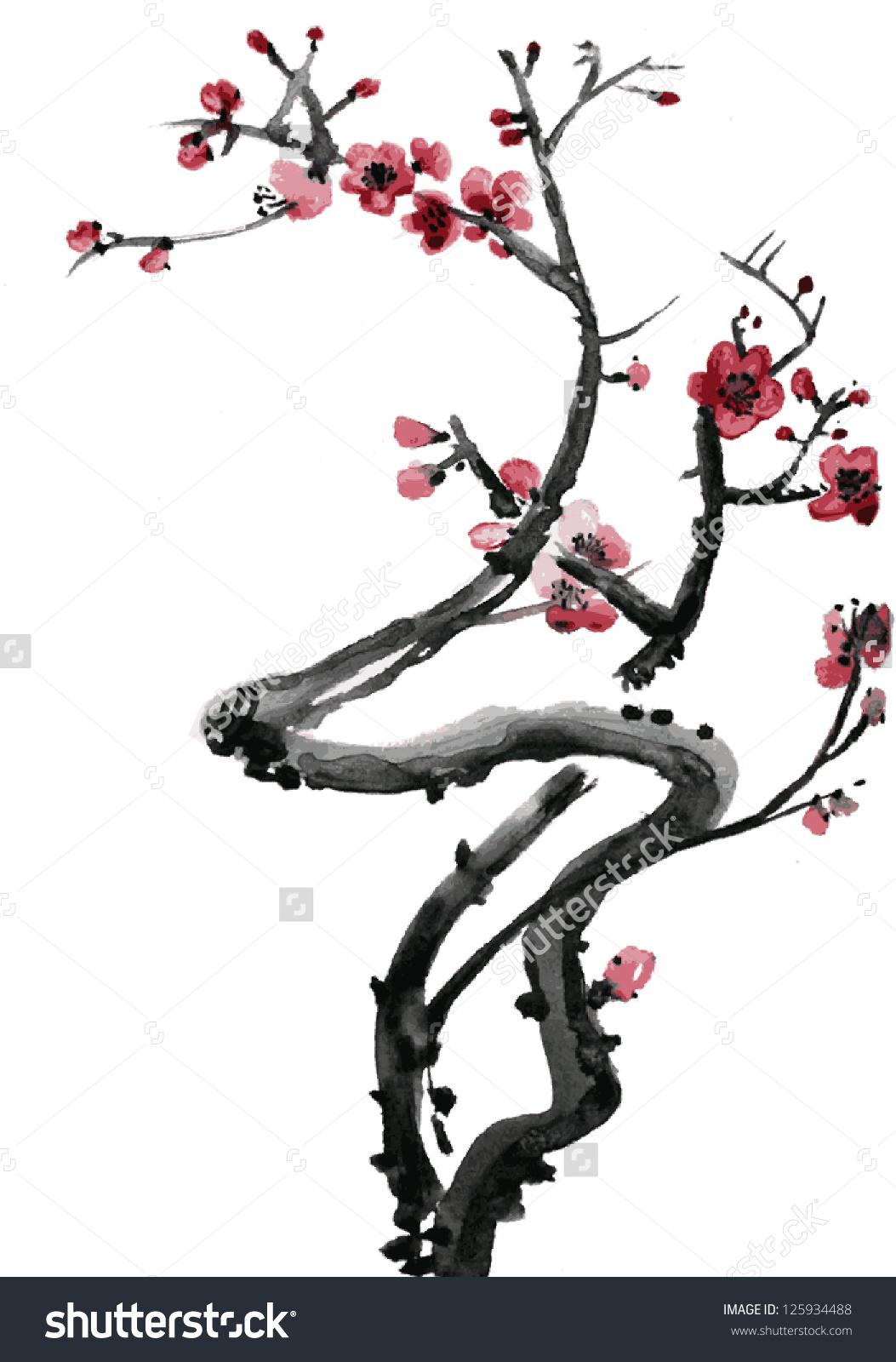 Drawn sakura blossom japanese plant Japanese Sakura Pinterest zoeken blossom