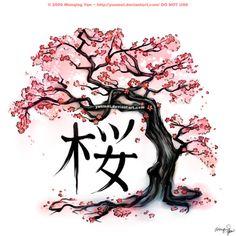 Drawn sakura blossom japanese writing Best and Cherry blossom Blossom