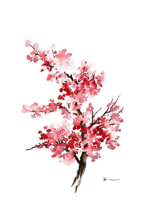 Drawn sakura blossom japanese writing Girl Illustration on Art Blossom