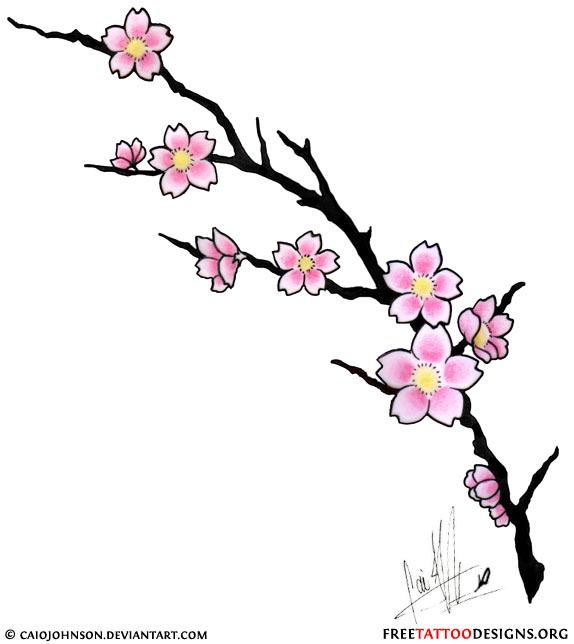 Drawn sakura blossom japanese writing Cherry (pink) flash  Tattoo