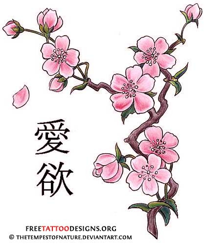 Drawn sakura blossom japanese writing Blossom Cherry tattoo Cherry Designs
