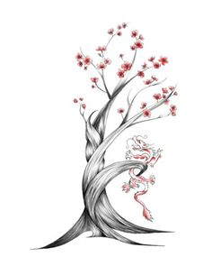 Drawn sakura blossom japanese writing Cherry Black Blossom like DrawingCherry