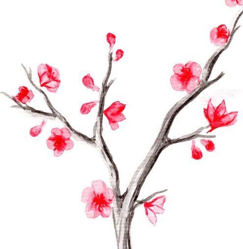 Drawn sakura blossom japenese Watercolor Pinterest 3 on Tree