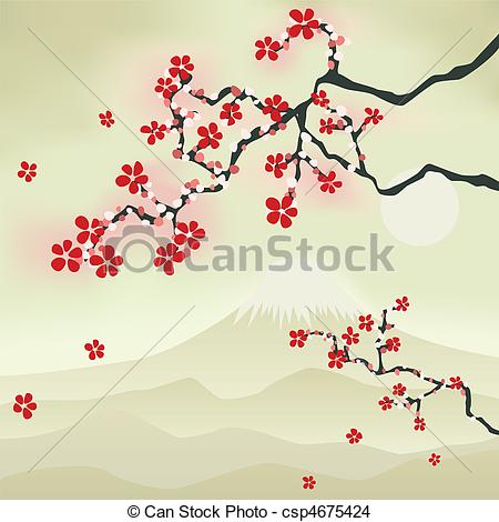 Drawn sakura blossom flower petal Blossom Cherry Japanese Vector csp4675424