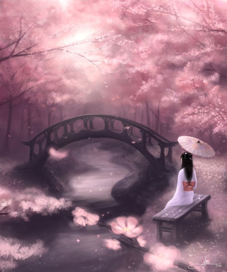 Drawn sakura blossom landscape Cherry on Pinterest switch Tree